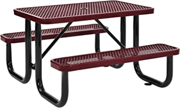 Global Industrial 4 ft. Expanded Metal Rectangular Outdoor Steel Picnic Table, Red