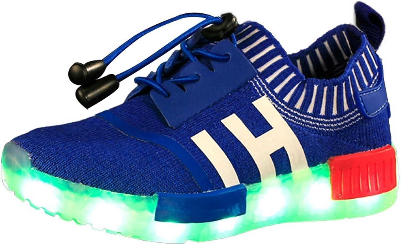 Reinhar Fashionable Kids Boys Girls Mesh Breathable LED Light USB Charging Fashion Sneakers