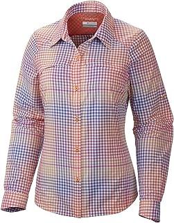 Columbia Sportswear Womens Silver Ridge Plaid Long Sleeve Shirt, Coral Flame Ombre Plaid, X-Large
