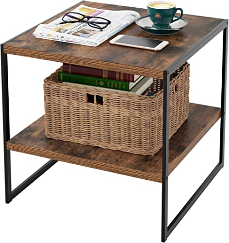 HOMFA Industrial End Table, 20 Inch Square Side Table Night Stand Coffee Table with 2-Tier Storage Shelf Wood Look Ac...