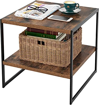 HOMFA Industrial End Table, 20 Inch Square Side Table Night Stand Coffee Table with 2-Tier Storage Shelf Wood Look Accent Furniture, Sturdy and Easy Assembly-Rustic Brown