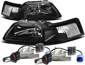 For Ford New Edge Mustang 4th Gen Pair of Black Housing Clear Corner Headlight + 9007 LED Conversion Kit