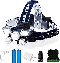 JSJJAUJ Hoofd Torch LED Koplamp Hoge Lumen (21 LED) Ultra Heldere 9 Modes Koplamp USB Oplaadbare Zaklamp Waterdicht Campin...