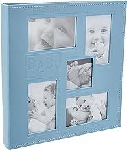 """Pioneer Collage álbum de fotos com capa de couro sintético costurado em relevo""""Baby"""", 10 x 15 cm, 240 fotos, azul bebê"""