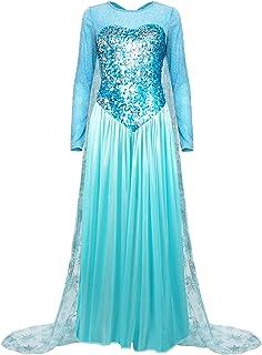 Nofonda Abito Congelato, Abito Lungo con Paillettes Blu, Costume da Gonna Principessa Elsa Splendid, Abito Elegante da Don...