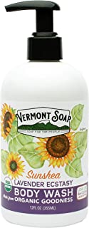 Vermont Soap Organic Lavender Body Wash, USDA Certified Organic Moisturizing Body Wash for Women or Men, Made With Aloe, J...
