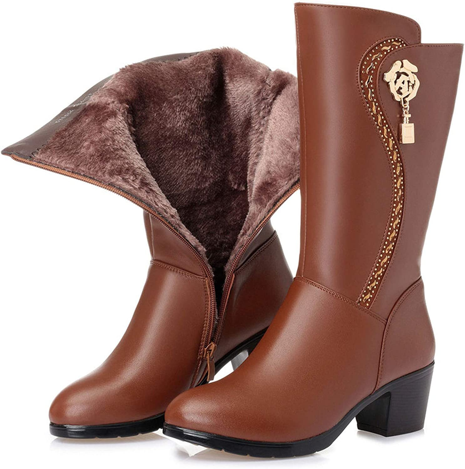 This is not a harm. 2018 New Genuine Leather Women's Wool Boots Thick Warm Winter Snow Motorcycle Boots,Cowhide,4.5