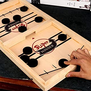 Fast Sling Puck Game Paced,Tinfence Table Desktop Battle,Winner Board Games Toys for Adults Parent-Child Interactive Chess...