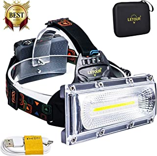 Headlamp, LETOUR 8000 Lumen Rechargeable Headlamp, COB High Bright LED Headlights Waterproof Work Light Headlight for Hard Hat Camping Cycling Hunting Fishing Climbing Running Outdoor, Super Long Time