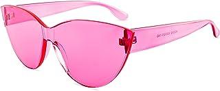 Colorful One Piece Rimless Transparent Cat Eye Sunglasses...