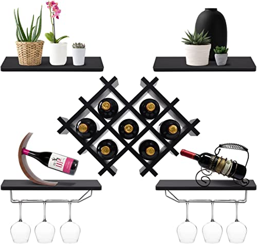 high quality Giantex 2021 Set of 5 Wall Mount Wine Rack Set w/ Storage Shelves and Glass Holder outlet online sale (Black) sale