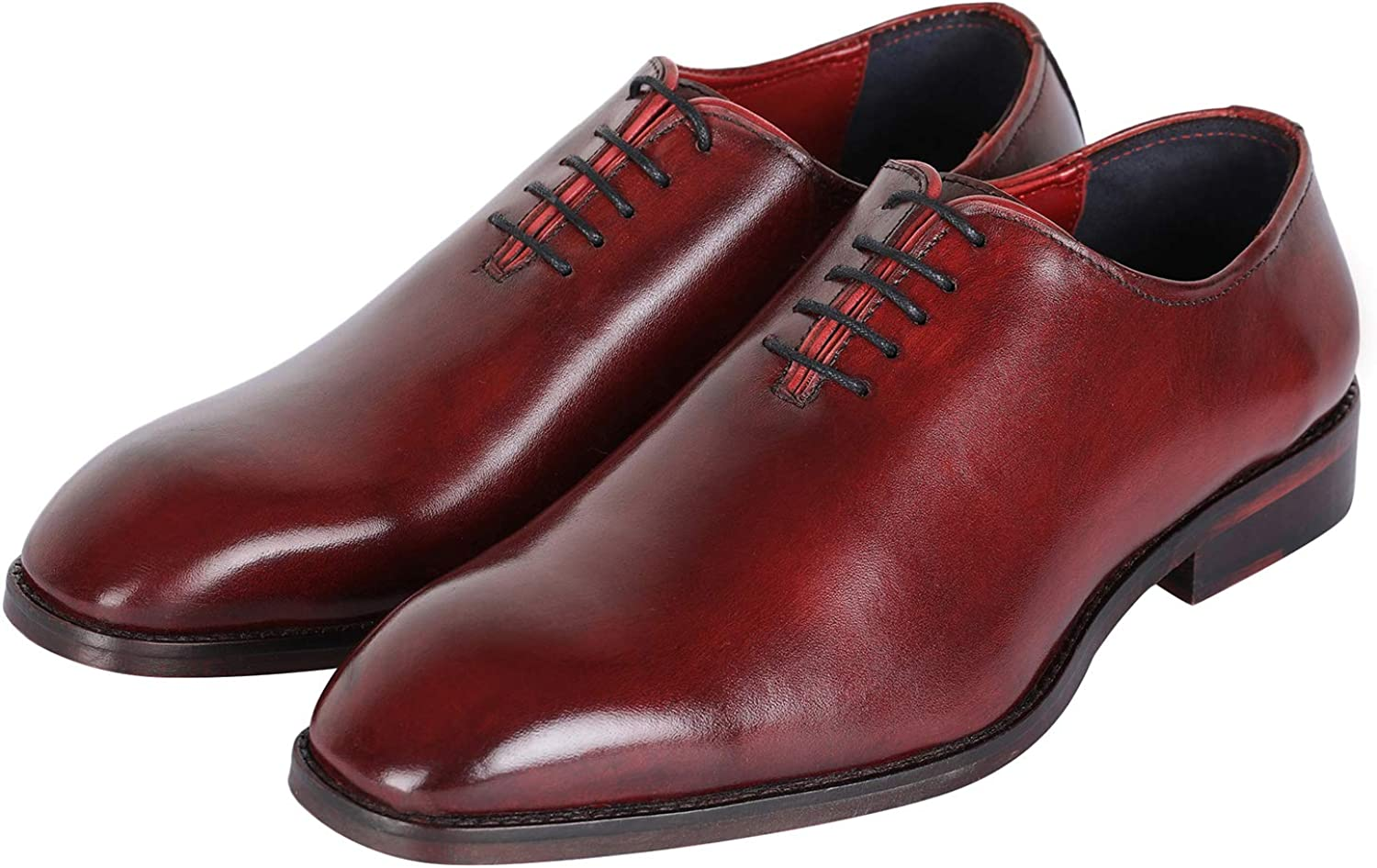 Lethato Handcrafted Wholecut Oxford Men's Genuine Leather Lace Up Dress shoes