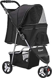 i.Pet Foldable Pet Stroller 3-Wheel Dog Cat Carrier-Black