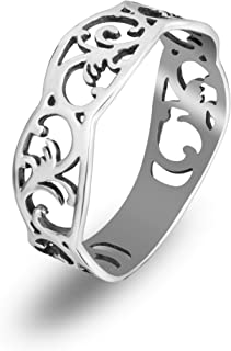 925 Sterling Silver Norwegian Rosemaling Ring Filigree Cutout Floral Thumb Band Rings Scandinavian Norse Jewelry for Women Girls Handmade
