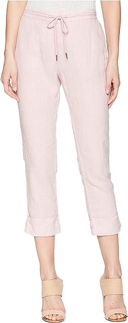 Woven Linen Cuffed Trouser