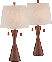 Omar Mid Century Modern Table Lamps Set of 2 Brown Wood Oatmeal Tapered Drum Shade for Living Room Family Bedroom Bedside - 360 Lighting