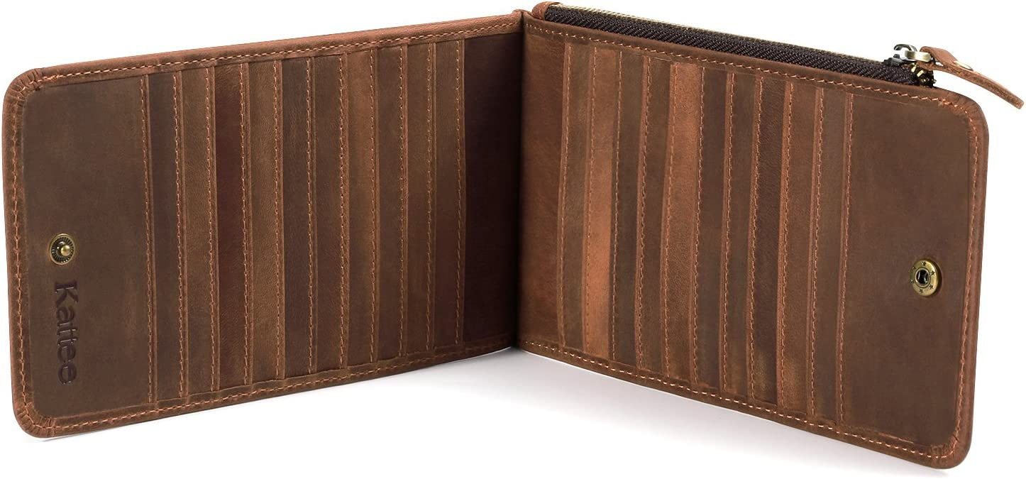 Kattee Real Leather Business Credit ID Cards Case Long Wallet