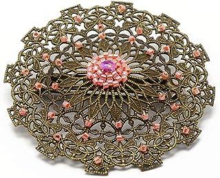 Spilla cuore perline Giappone perle rosa corallo 5,5cm regali personalizzati regalo di Natale amici compleanno cerimonia d...