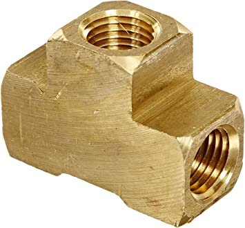 2 Pack 1//4 NPT Brass Tee Pipe Fitting,T Shape Connectors,1//4 NPT Female x 1//4 NPT Female x 1//4 NPT Male Pipe Fitting