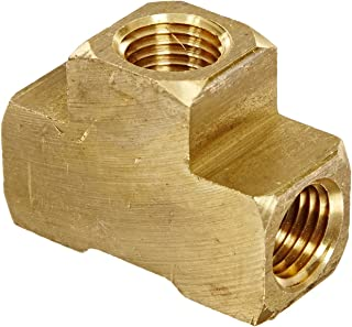Anderson Metals 56101 Brass Pipe Fitting, Barstock Tee, 1/4