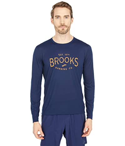 Brooks Distance Graphic Long Sleeve (Navy/Brooks Heritage) Men