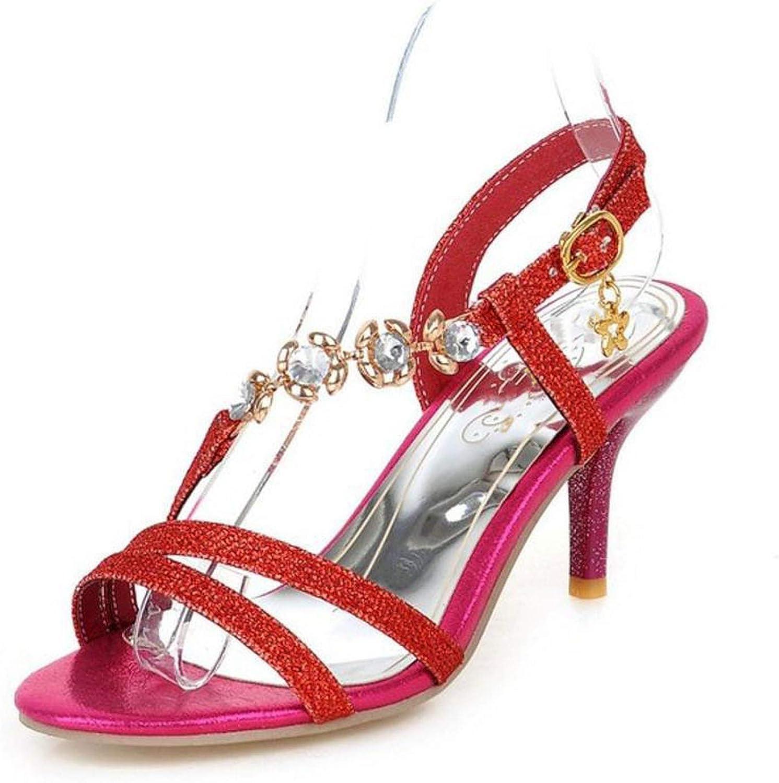 Smile-bi Plus Size 31-48 Summer Office Women High Heel Sandals Casual Buckle Woman shoes
