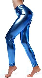 DIAMONDKIT Women Faux Leather Leggings Wet Look Metallic Waist Legging Pants Trousers
