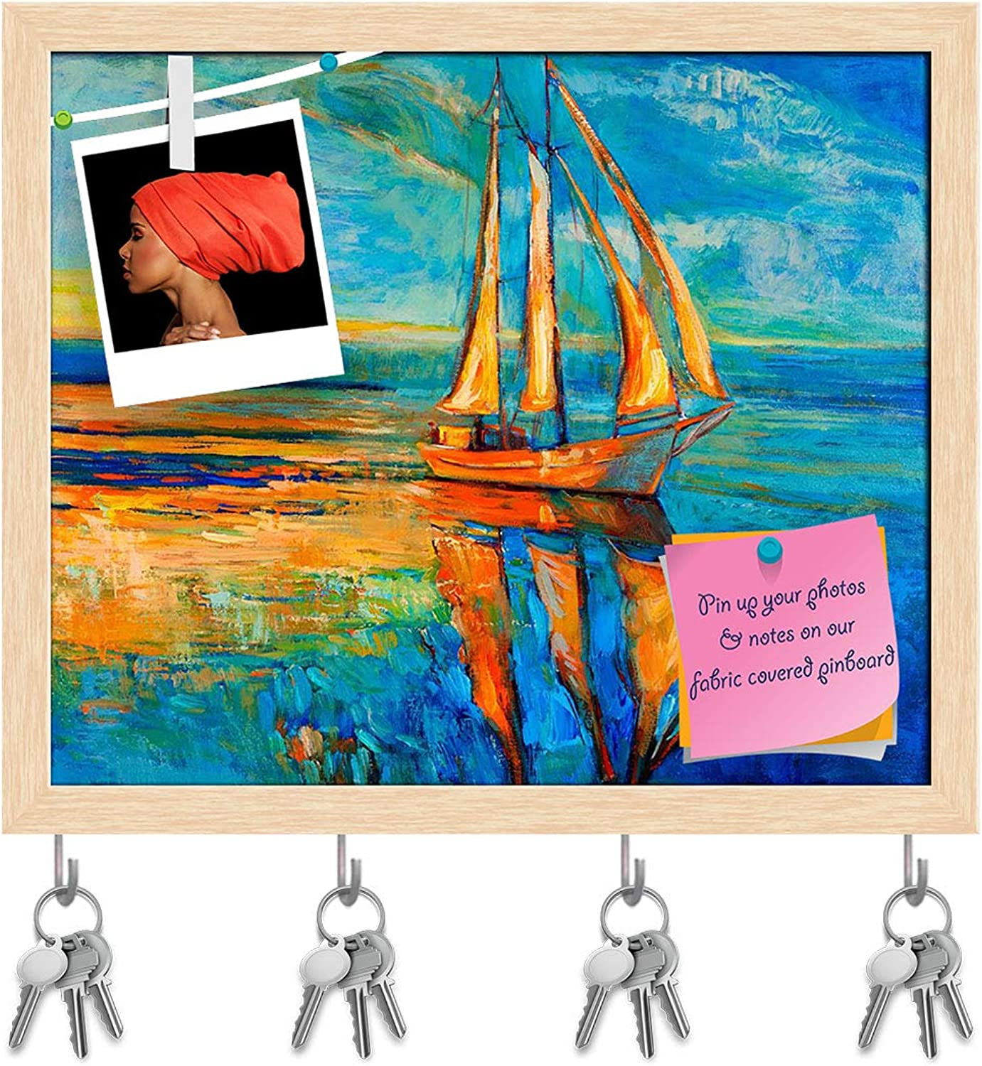 Artzfolio Artwork of Sail Ship & Sea D6 Key Holder Hooks   Notice Pin Board   Natural Brown Frame 19 X 16Inch