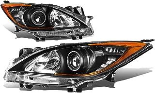 Black Housing Amber Corner Projector Headlight Headlamp - Pair - for Mazda 3 10 11 12 13
