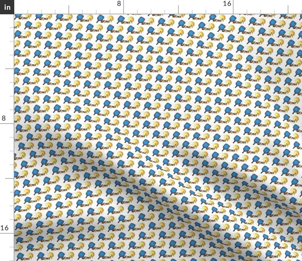 Sale price Spoonflower Fabric - Pickleball Blue Whimsical Paddle Spor Max 87% OFF Brown