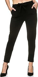 Elara Women's Stretch Trousers | Elastic Band | Bow Trousers | Slim Fit | Chunkyr Red