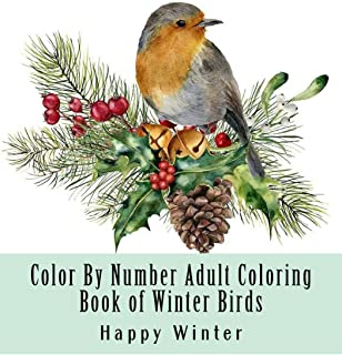 Color By Number Adult Coloring Book of Winter Birds: Winter Bird Scenes, Festive Holiday Christmas Winter Birds Large Print Coloring Book For Adults (Adult Color By Number Coloring Books)
