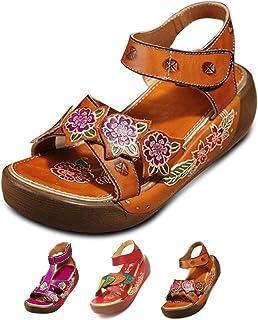 924e4204576c4e Socofy Sandales Cuir Femmes, Chaussures de Ville Été Compensees Plateformes  Bride Cheville avec Semelle Confortable