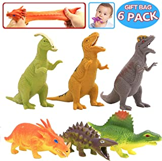 ValeforToy Dinosaur Toy,8 inch Rubber Dinosaur Set(6 Pack),Food Grade Material TPR Super Stretches,with Gift Bag and Learning Study Card, Realistic Dinosaur Figure Squishy Toy for Boy Kid Party Favor