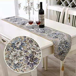 BLUETOP Embroidery Table Runner Blue 83