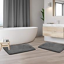 Memory Foam Bathrug 2 Pack Set - Gray - Bath Mat and Shower Rug Small 17 x 24 Inches Non Slip Latex Free Plush Microfiber....