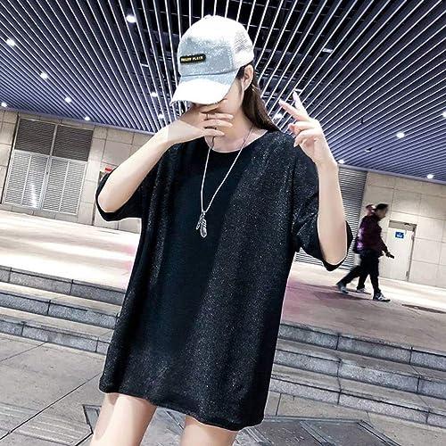 O&YQ Chemise D'été en Soie Lache à Manches Courtes pour Femme en Soie Brillante Scintillante, Noir, XL