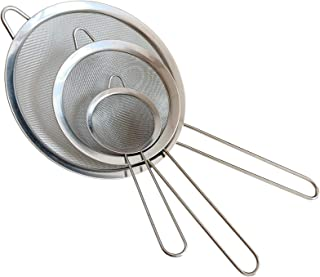 Fine Mesh Strainer, Set of 3 Stainless Steel Strainers Colander Sieve Sifters with Long Handle for Kitchen Food Tool Gadge...