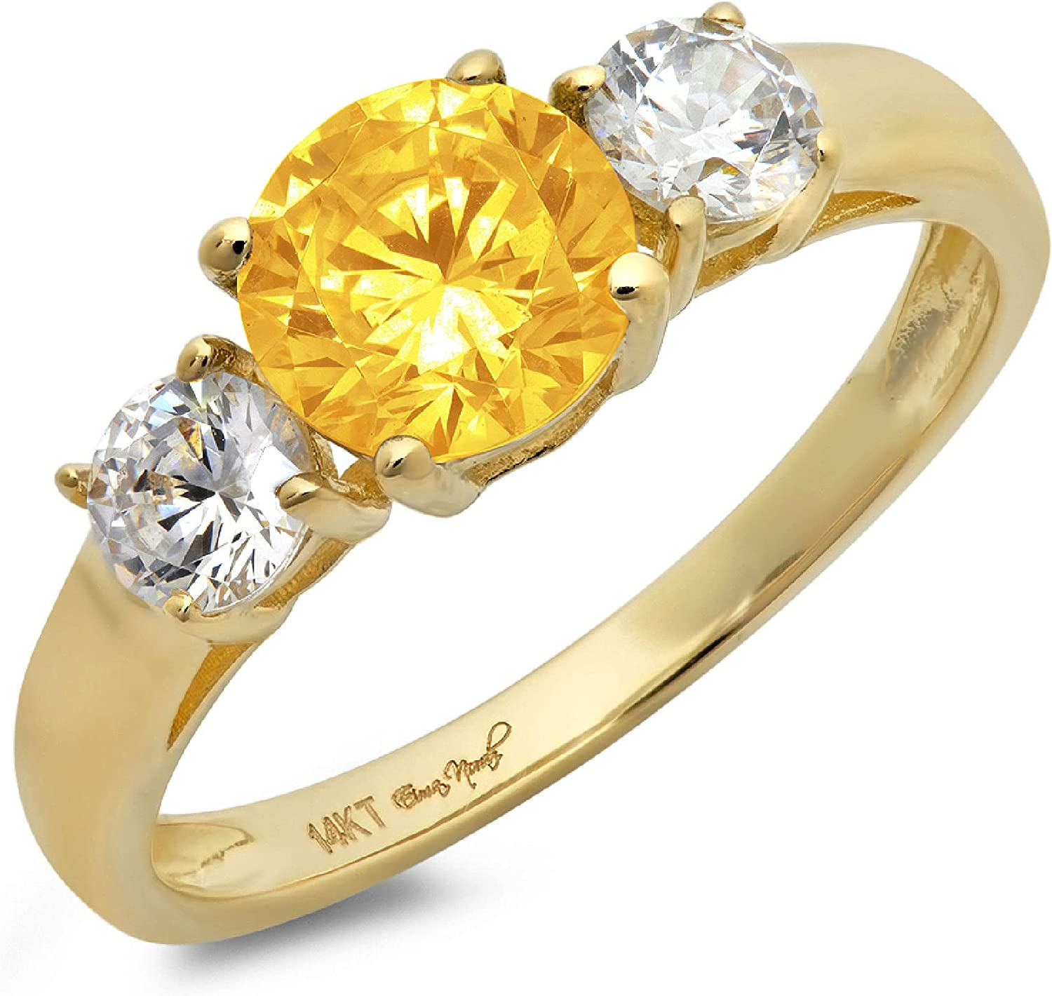 1.50ct Brilliant Round Cut Solitaire 3 stone Genuine Flawless Natural Yellow Citrine Gemstone Engagement Promise Statement Anniversary Bridal Wedding Ring Solid 18K Yellow Gold