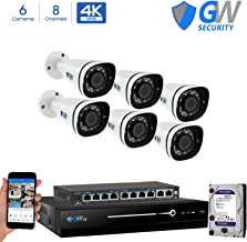 GW 8 Channel 8MP UltraHD 4K (3840x2160) Audio & Video Motorized Zoom Home NVR Security System - 6 x Bullet 8 Megapixel 2.8-8mm 3X Optical Zoom Waterproof IP PoE Cameras Built-in Microphone