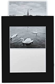 Golden State Art, Pack of 10 Black 11x14 Slip-in Pre-Adhesive Photo Mat for 8x10 Picture with Backing Board pre-Assembled, Includes 10 Clear Bags