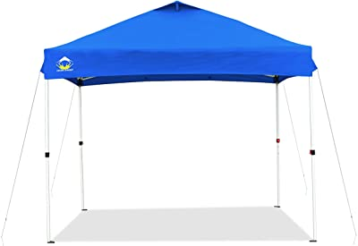 CROWN SHADES 10x10 Pop up Canopy Outside Canopy, Patented One Push Tent Canopy, Upgrade Version with 300D Silver Coated Top, Wheeled Carry Bag, Bonus 8 Stakes and 4 Ropes, Blue