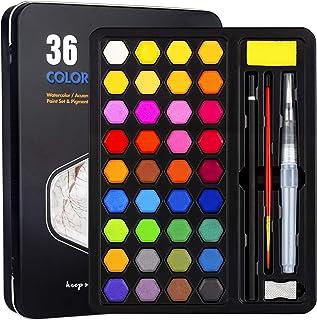 Xpassion Caja de Acuarelas Set de Pintura de Acuarelas 36 Colores Metal Estuche Pigmento Sólido Acuarela Conjunto Juego ...