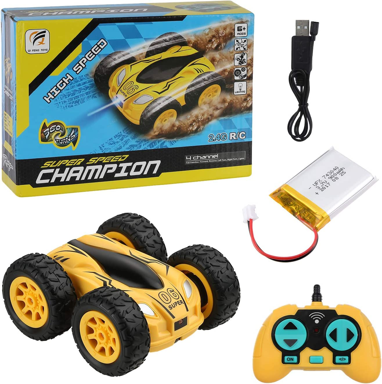 Remote Control Cars Childrens Toy Cars for 6-10 Years Old Boys and Girls 2.4 GHz Remote Control Stunt Car Waterproof RC Car Christmas Birthday Yellow