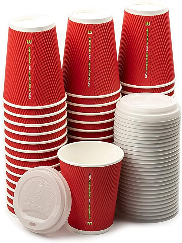 12 Oz Compostable Insulated Paper Coffee Cups With Plant Based Lids 50 Pcs Triple Layer Rippled Cups No Need For Sleeves For Hot And Cold Drinks