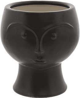 The Bridge Collection Small Matte Black Ceramic Sculpted Face Planter