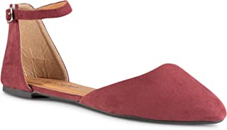 Twisted Womens Faux Suede Almond Toe Ballet Flat with Ankle Strap