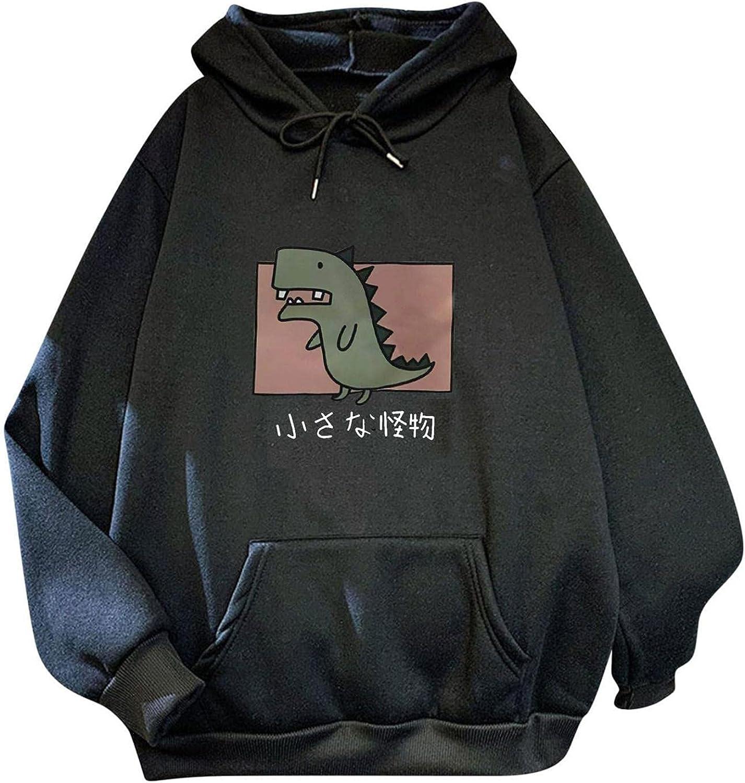 Toeava Sweatshirt for Women Oversized Cute Dinosaur Print Graphic Fleece Crewneck Hoodie Long Sleeve Pullover Tops