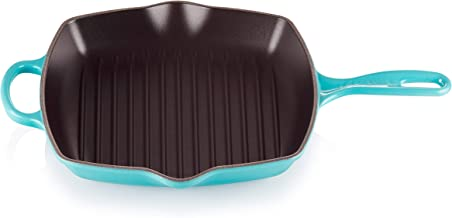 "Le Creuset Enameled Cast Iron Signature Square Skillet Grill, 10.25"", Caribbean"