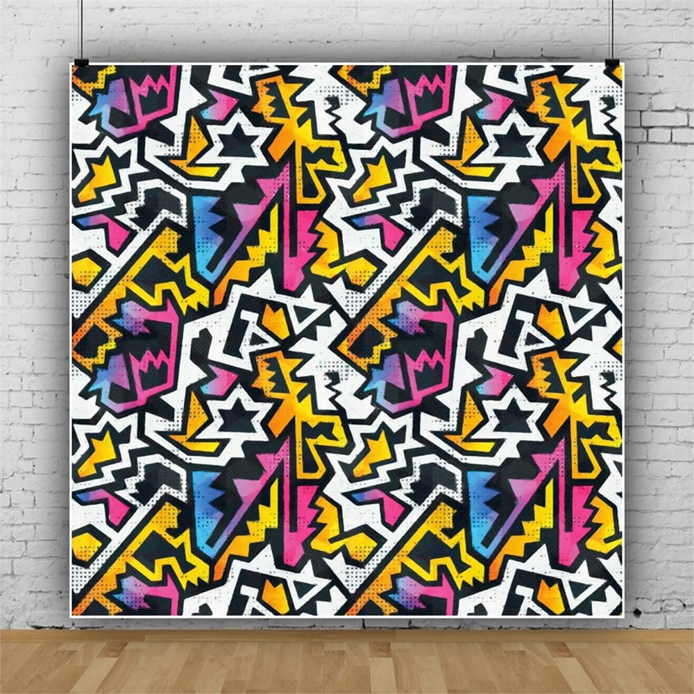 Leowefowa Chic Colorful Abstract Pattern Backdrop Vinyl 6x6ft Photography Background Child Kids Adult Portrait Shoot Hip Hop 80 90s Themed Party Photo Booth Studio Photo Props Wallpaper